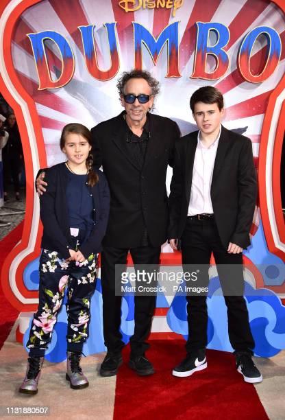 Tim Burton Billy Raymond Burton and Nell Burton attending the European premiere of Dumbo held at Curzon Mayfair London