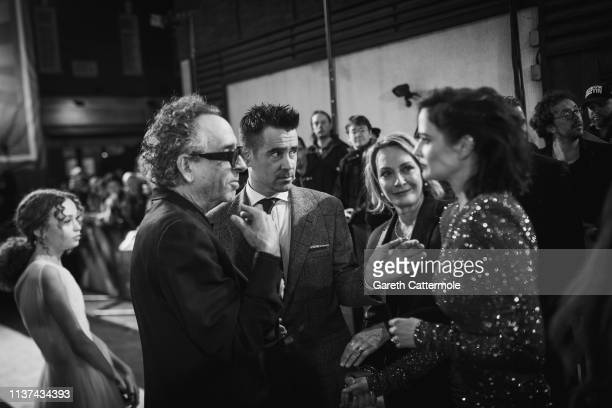 Tim Burton Collin Farrell Katterli Frauenfelder and Eva Green attend the European Premiere of Disney's Dumbo at The Curzon Mayfair on March 21 2019...