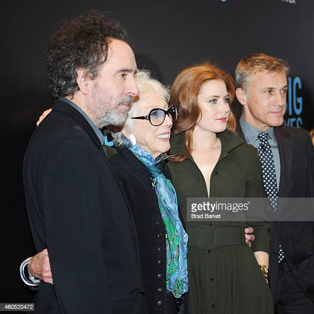 """Tim Burton, Margaret Keane, Amy Adams, and Christoph Waltz attend the """"Big Eyes"""" New York Premiere at Museum of Modern Art on December 15, 2014 in..."""
