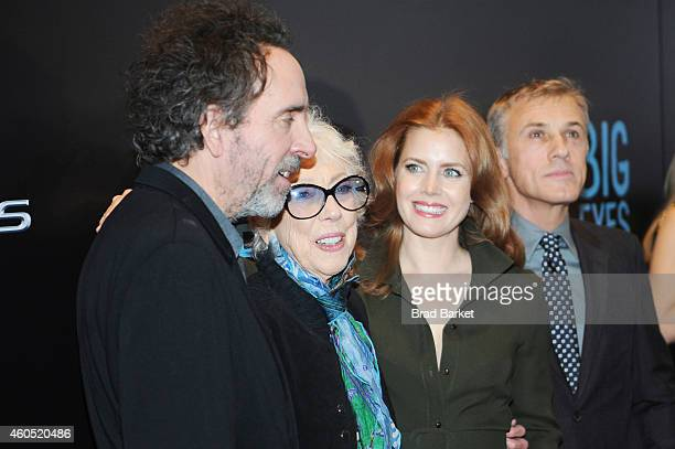 Tim Burton Margaret Keane Amy Adams and Christoph Waltz attend the Big Eyes New York Premiere at Museum of Modern Art on December 15 2014 in New York...