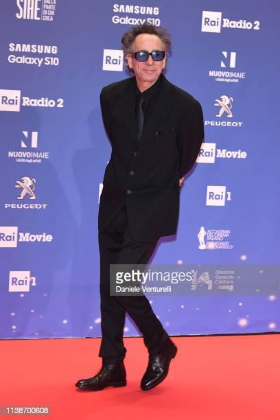 Tim Burton walks a red carpet ahead of the 64 David Di Donatello awards ceremony Red Carpet on March 27 2019 in Rome Italy