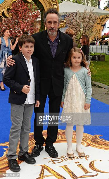 Tim Burton with children Billy and Nell Burton attends the European Premiere of 'Alice Through The Looking Glass' at Odeon Leicester Square on May 10...