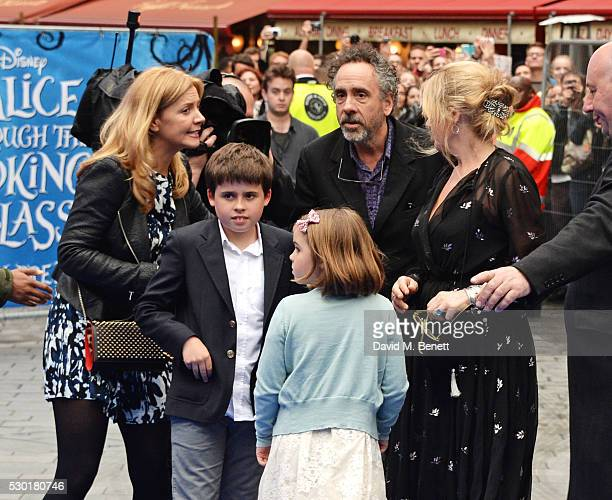 Tim Burton with children Billy and Nell Burton attends the European Premiere of Alice Through The Looking Glass at Odeon Leicester Square on May 10...