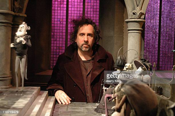 Tim Burton with 'Corpse Bride' set during Tim Burton Appearance at 'Corpse Bride' Screening with Props and Sets from Film at Directors Guild of...