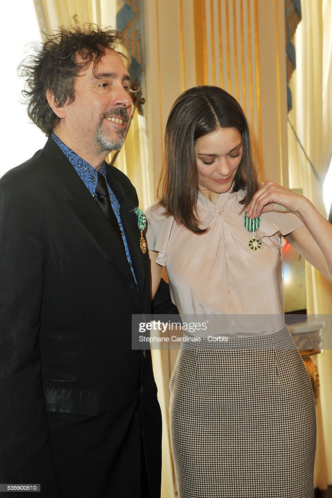 Tim Buton is awarded the title of Officier in the Order of Art and Letters and Marion Cotillard awarded that of Chevalier in the Order of Art and Letters by Culture Minister Frederic Mitterand at the Department of Culture, in Paris.