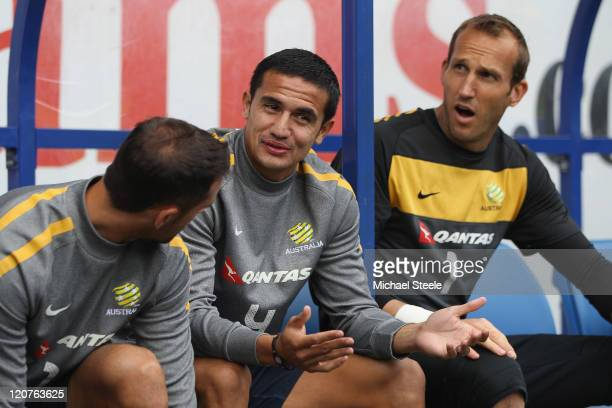 Tim Cahill alongside Mark Schwarzer during the Australia Training session at the Cardiff City Stadium on August 9 2011 in Cardiff Wales