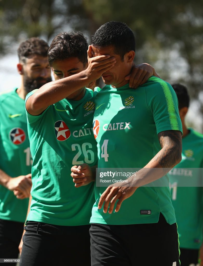 Tim Cahill and Daniel Arzani of Australia arrive for the Australian Socceroos Training Session at the Gloria Football Club on June 3, 2018 in Antalya, Turkey.