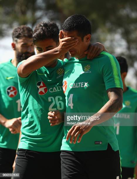 Tim Cahill and Daniel Arzani of Australia arrive for the Australian Socceroos Training Session at the Gloria Football Club on June 3 2018 in Antalya...