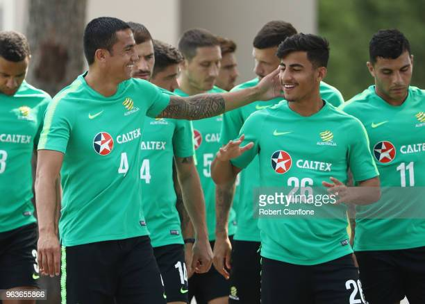 Tim Cahill and Daniel Arzani of Australia laugh during an Australian Socceroos training session at the Gloria Football Club on May 30 2018 in Antalya...