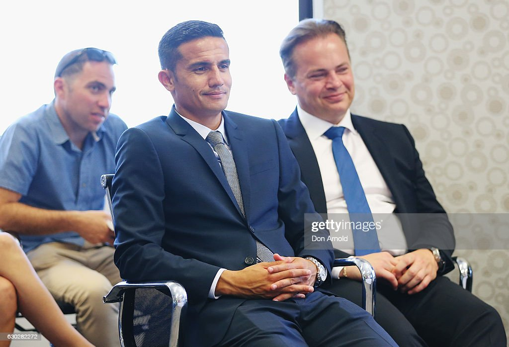 Tim Cahill and Mark Bosnich look on during a press conference where they annnounced a six year deal with Fox Sports worth 346 million dollars at the FFA Offices on December 20, 2016 in Sydney, Australia.