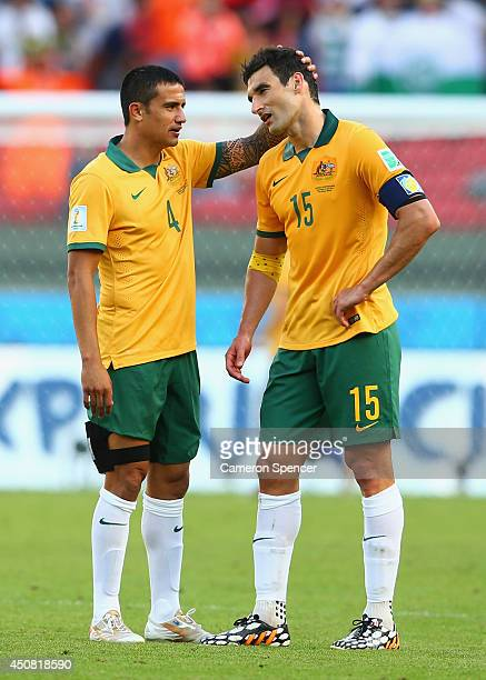 Tim Cahill and Mile Jedinak of Australia react after being defeated by the Netherlands 3-2 during the 2014 FIFA World Cup Brazil Group B match...
