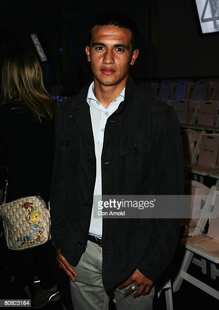 Tim Cahill attends the front row of designer Alex Perry's show on the second day of the Rosemount Australian Fashion Week Spring/Summer 2008/09...