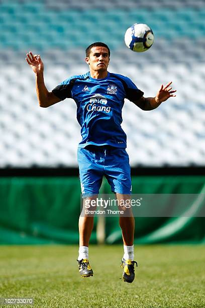 Tim Cahill controls the ball during the Evertone training session at ANZ Stadium on July 9 2010 in Sydney Australia