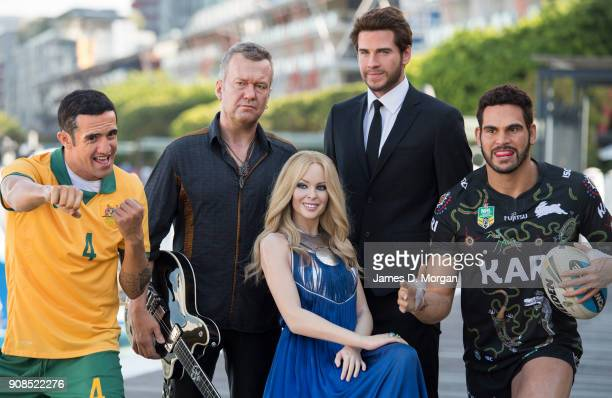 Tim Cahill Jimmy Barnes Kylie Minogue Liam Hemsworth and Greg Inglis iconic Australian figures from Madame Tussauds Sydney step out in Darling...