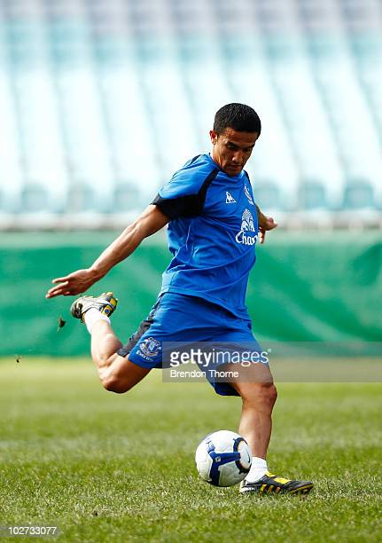 Tim Cahill kicks the ball during the Evertone training session at ANZ Stadium on July 9 2010 in Sydney Australia