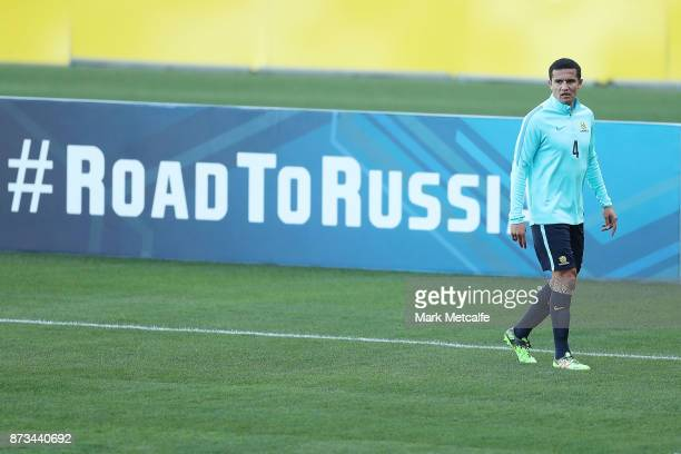 Tim Cahill looks on during an Australia Socceroos training session at ANZ Stadium ahead of their World Cup 2018 qualifying playoff against Honduras...