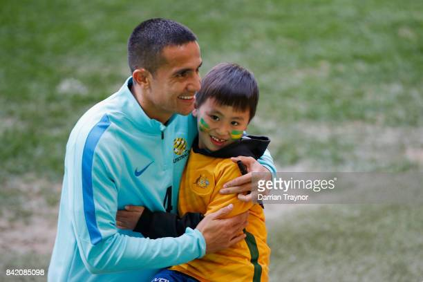 Tim Cahill meets fans after an Australian Socceroos training session at AAMI Park on September 3 2017 in Melbourne Australia