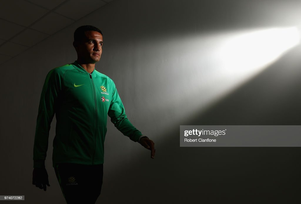 Tim Cahill of Australia aarives for an Australia Socceroos media opportunity ahead of the FIFA World Cup 2018 at Stadium Trudovye Rezervy on June 14, 2018 in Kazan, Russia.