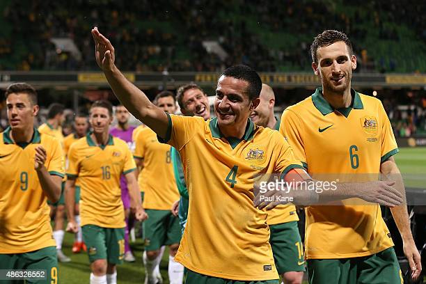 Tim Cahill of Australia acknowledges supporters after the 2018 FIFA World Cup Qualification match between the Australian Socceroos and Bangladesh at...