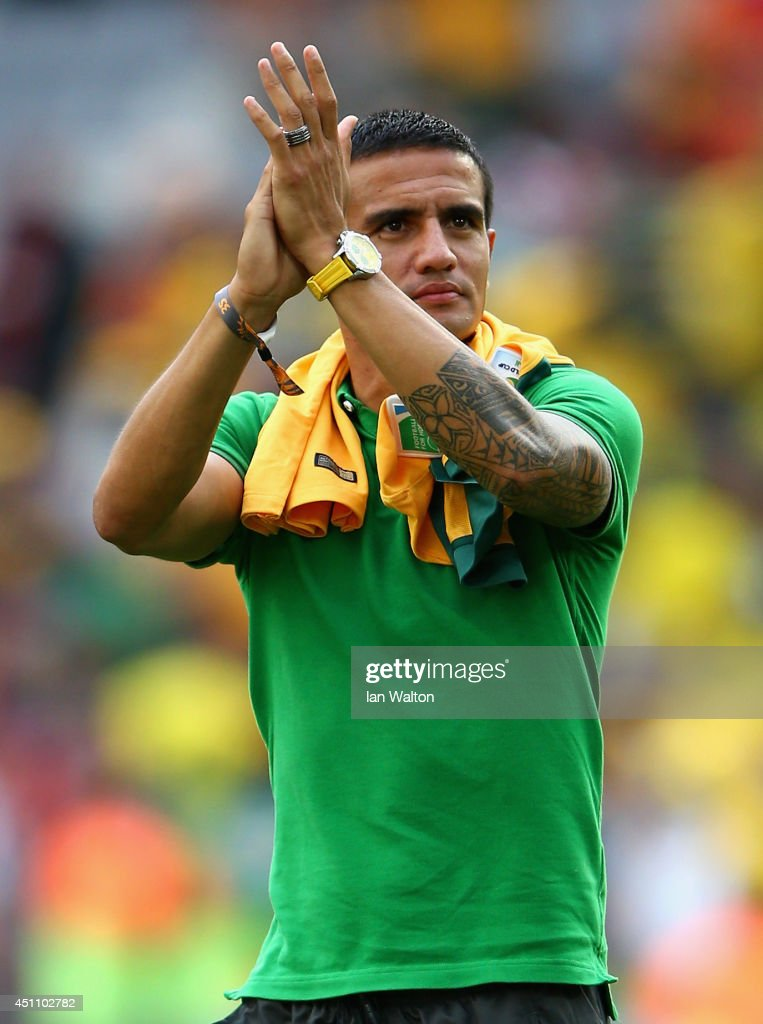Tim Cahill of Australia acknowledges the fans after being defeated by Spain 3-0 during the 2014 FIFA World Cup Brazil Group B match between Australia and Spain at Arena da Baixada on June 23, 2014 in Curitiba, Brazil.