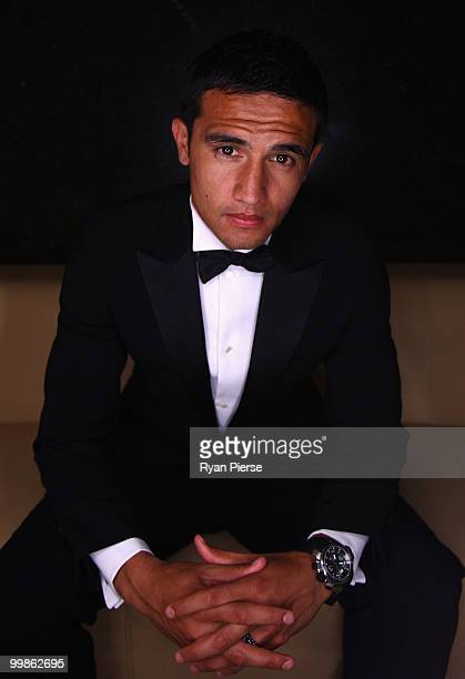 Tim Cahill of Australia and Everton poses before hosting a gala dinner in aid of the Tim Cahill Cancer Fund for Children at the Hilton Hotel on May...