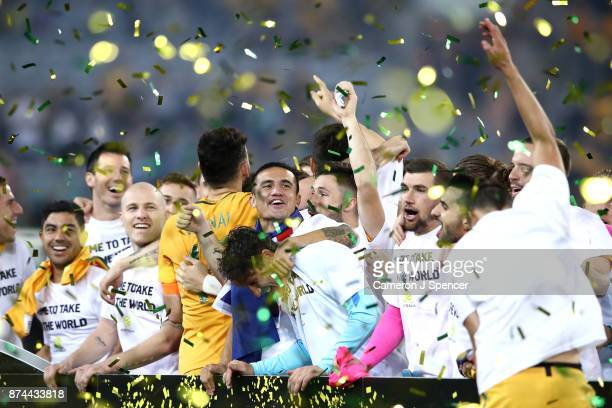 Tim Cahill of Australia and team mates celebrate winning the 2018 FIFA World Cup Qualifiers Leg 2 match between the Australian Socceroos and Honduras...