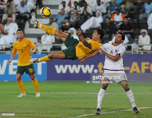 Tim Cahill of Australia attempts a shot on goal during the 2010 FIFA World Cup qualifier match between Qatar and the Australia at the at Al Sadd Club...