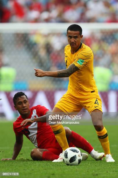 Tim Cahill of Australia battles for the ball with Aldo Corzo of Peru during the 2018 FIFA World Cup Russia group C match between Australia and Peru...