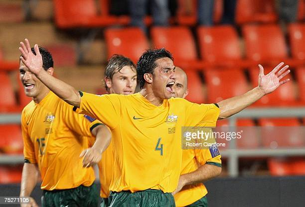 Tim Cahill of Australia celebrates after he scored a goal to equalise the game during the AFC Asian Cup 2007 group A match between Australia and Oman...