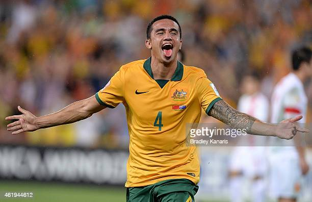 Tim Cahill of Australia celebrates after scoring a goal during the 2015 Asian Cup match between China PR and the Australian Socceroos at Suncorp...