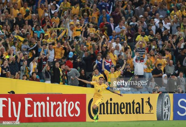 Tim Cahill of Australia celebrates after scoring his teams first goal during the 2018 FIFA World Cup Asian Playoff match between the Australian...