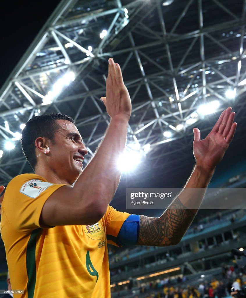 Tim Cahill of Australia celebrates after the 2018 FIFA World Cup Asian Playoff match between the Australian Socceroos and Syria at ANZ Stadium on October 10, 2017 in Sydney, Australia.