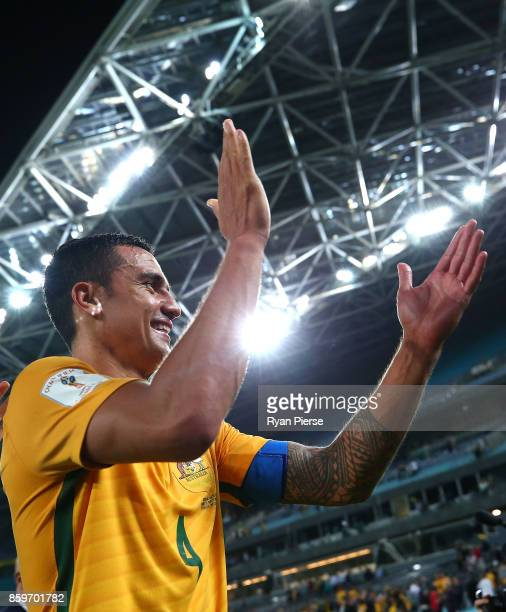 Tim Cahill of Australia celebrates after the 2018 FIFA World Cup Asian Playoff match between the Australian Socceroos and Syria at ANZ Stadium on...