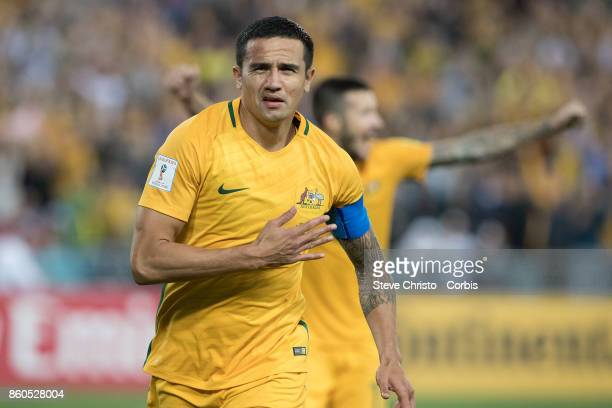 Tim Cahill of Australia celebrates his 50th goal for his country during the 2018 FIFA World Cup Asian Playoff match between the Australian Socceroos...