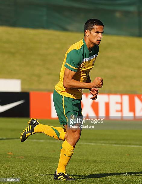 Tim Cahill of Australia celebrates his goal during the International Friendly between the Australian Socceroos and the USA at Ruimsig Stadium on June...