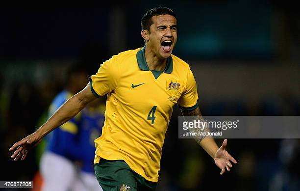 Tim Cahill of Australia celebrates his goal during the International Friendly match between Australia and Ecuador at The Den on March 5 2014 in...