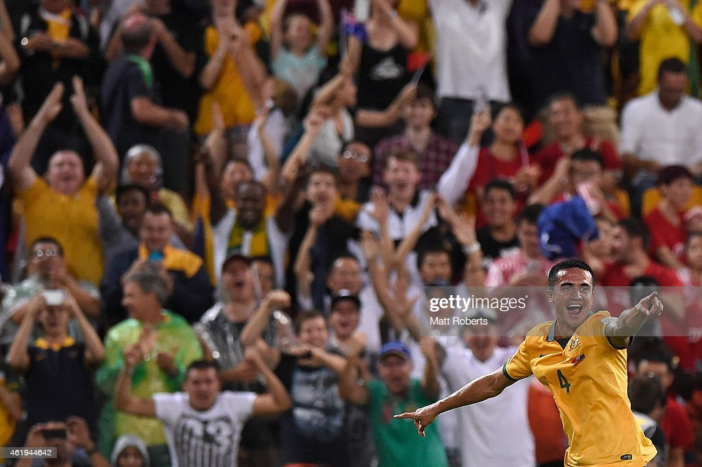Tim Cahill of Australia celebrates his second goal during the 2015 Asian Cup match between China PR and the Australian Socceroos at Suncorp Stadium on January 22, 2015 in Brisbane, Australia.