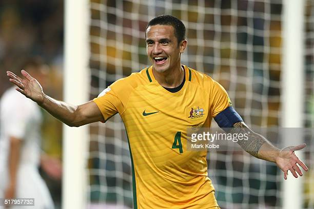 Tim Cahill of Australia celebrates scoring a goal during the 2018 FIFA World Cup Qualification match between the Australian Socceroos and Jordan at...