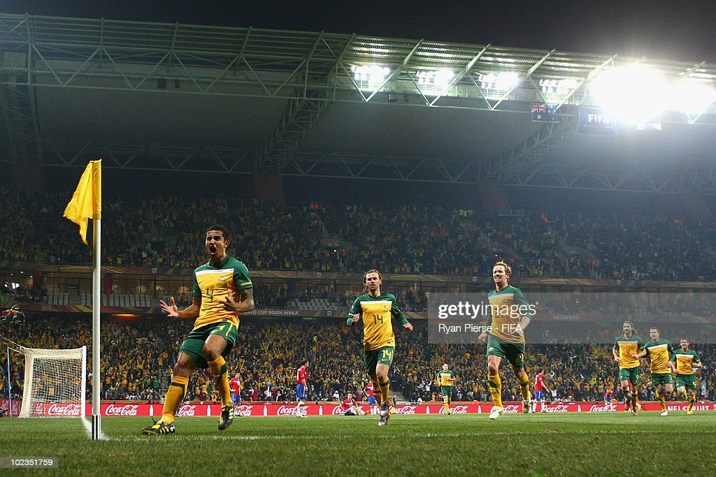 Tim Cahill of Australia (L) celebrates scoring during the 2010 FIFA World Cup South Africa Group D match between Australia and Serbia at Mbombela Stadium on June 23, 2010 in Nelspruit, South Africa.