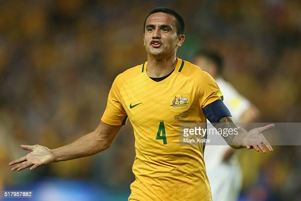 Tim Cahill of Australia celebrates scoring his second goal during the 2018 FIFA World Cup Qualification match between the Australian Socceroos and...