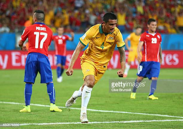 Tim Cahill of Australia celebrates scoring his team's first goal during the 2014 FIFA World Cup Brazil Group B match between Chile and Australia at...