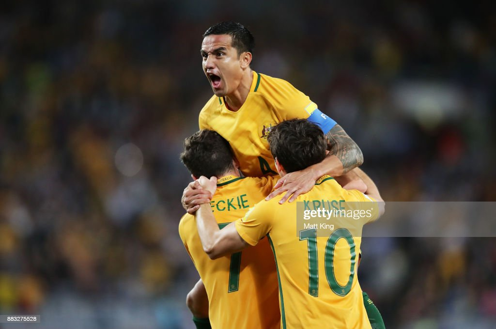Tim Cahill of Australia celebrates scoring their first goal during the 2018 FIFA World Cup Asian Playoff match between the Australian Socceroos and Syria at ANZ Stadium on October 10, 2017 in Sydney, Australia.