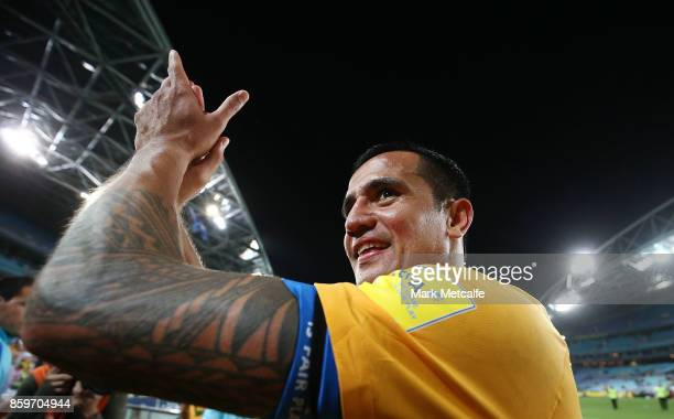Tim Cahill of Australia celebrates victory at the end of the 2018 FIFA World Cup Asian Playoff match between the Australian Socceroos and Syria at...