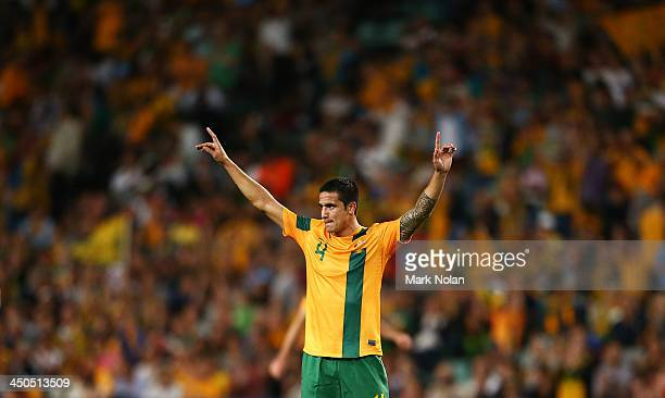 Tim Cahill of Australia celebrates winning the international friendly match between the Australian Socceroos and Costa Rica at Allianz Stadium on...