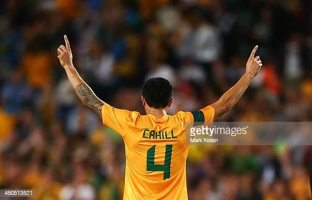Tim Cahill of Australia celebrates winning the international friendly match between the Australian Socceroos and Costa Rica at Allianz Stadium on...