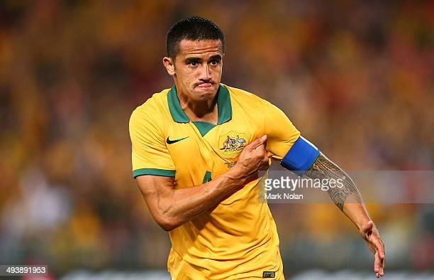 Tim Cahill of Australia celebtrates scoring a goal during the International Friendly match between the Australian Socceroos and South Africa at ANZ...