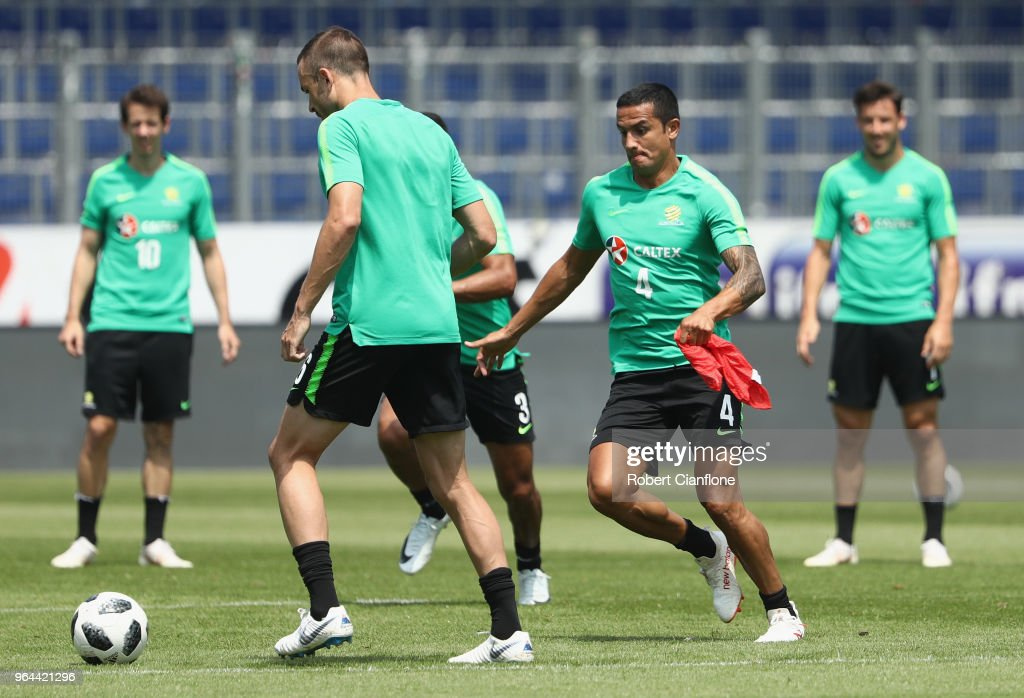 Tim Cahill of Australia chases the ball during an Australia Socceroos training session at NV Arena on May 31, 2018 in Sankt Polten, Austria.