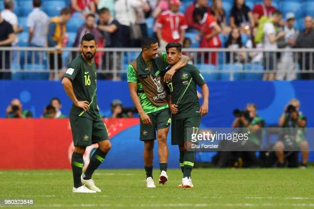 Tim Cahill of Australia congratulates teammate Daniel Arzani of Australia after the 2018 FIFA World Cup Russia group C match between Denmark and...