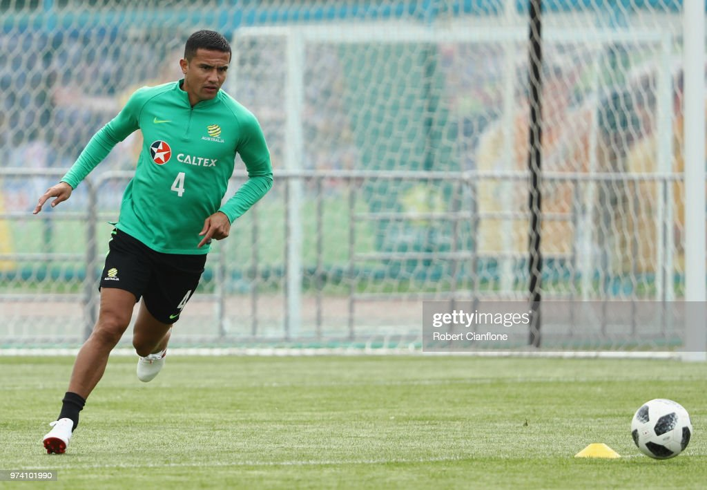 Tim Cahill of Australia controls the ball during an Australia Socceroos training session ahead of the FIFA World Cup 2018 at Stadium Trudovye Rezervy on June 14, 2018 in Kazan, Russia.