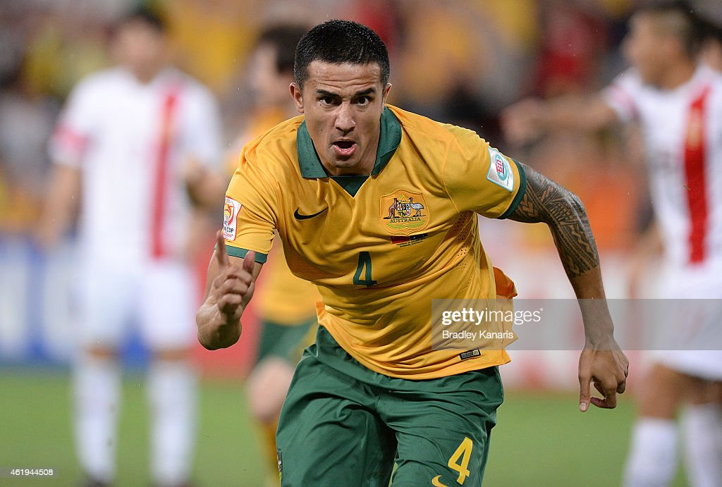 Tim Cahill of Australia cscores a goal during the 2015 Asian Cup match between China PR and the Australian Socceroos at Suncorp Stadium on January 22, 2015 in Brisbane, Australia.